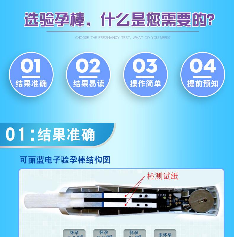 可丽蓝早早孕测试笔(电子验孕棒1支+验孕棒2支)早孕试纸HCG怀孕检测笔