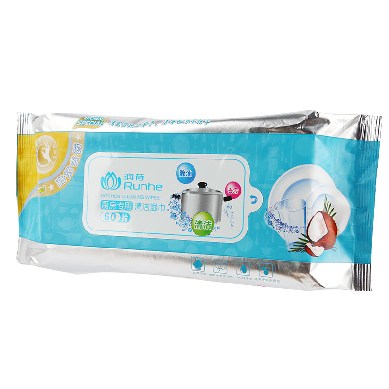 润荷 润荷厨房专用清洁湿巾 20cm*20cm*60片