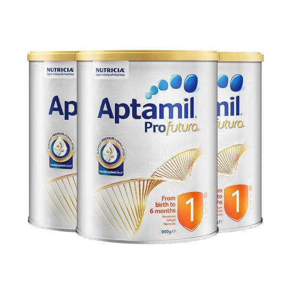 澳洲直邮 进口爱他美(Aptamil) 白金版婴儿配方奶粉 1段 900g*3罐
