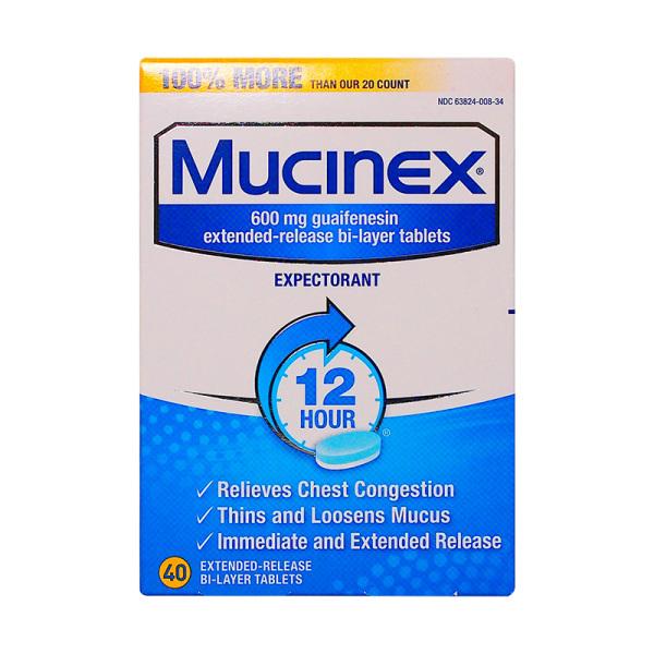 Mucinex 愈创甘油醚祛痰片(普通型) 600mg*40s