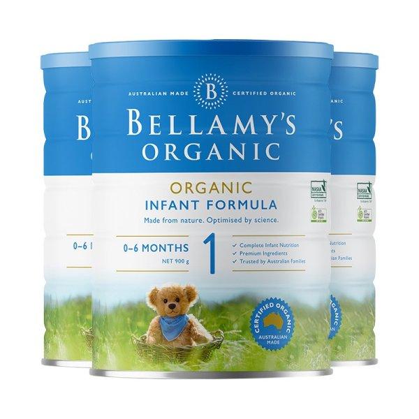 澳洲直邮 进口Bellamy's 贝拉米婴幼儿有机奶粉一段 900g*3罐