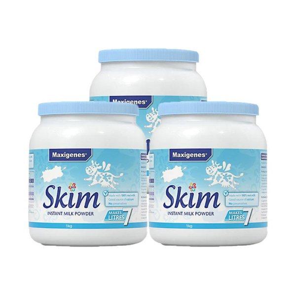 澳洲进口Maxigenes美可卓 高钙脱脂奶粉(蓝胖子) 1000g*3罐