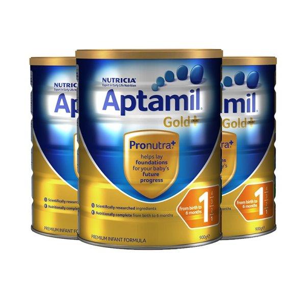 澳洲直邮 Aptamil爱他美 金装婴幼儿奶粉 一段 900g*3罐