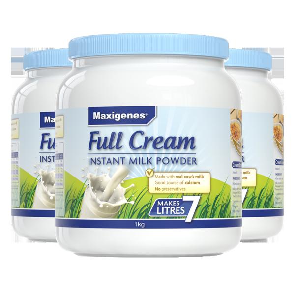 【保税】澳洲进口Maxigenes美可卓 全脂高钙成人奶粉(蓝胖子) 1000g*3罐