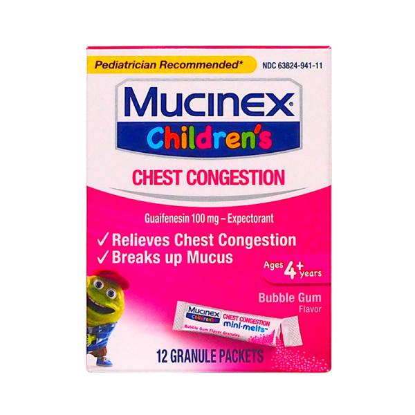 Mucinex 愈创木酚甘油醚祛痰颗粒(泡泡糖口味) 100mg*12包