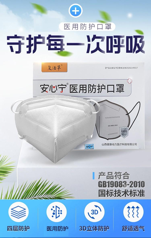 安心宁医用防护口罩 折叠型*5只【4层防护】过滤效能等同N95级 一次性医用口罩独立包装